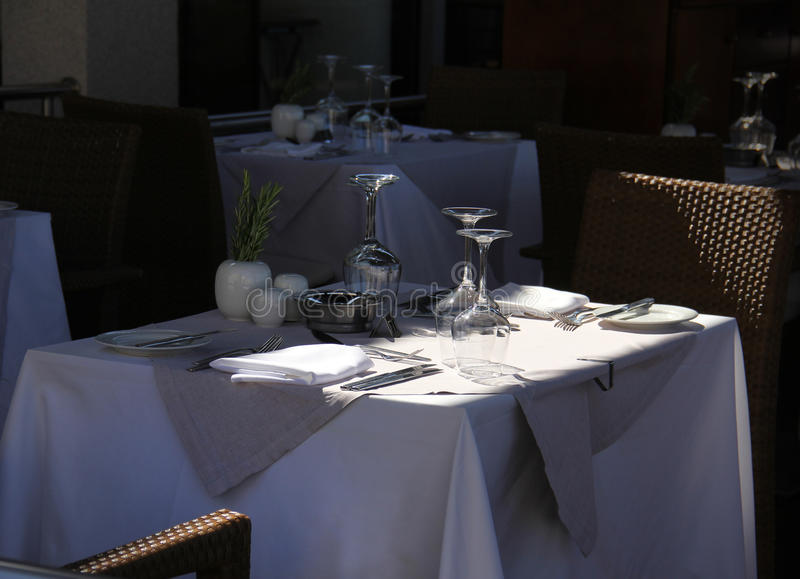 Terrace restaurant table waiting for guests