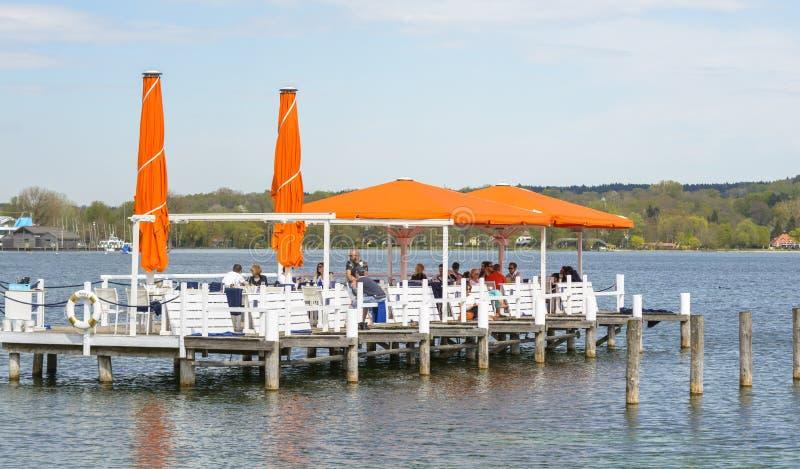 Terrace on Starnberg Lake stock photo