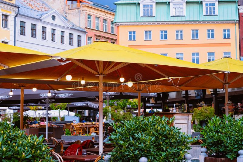 Terrace street cafe in Old Town of Riga Latvia royalty free stock photography