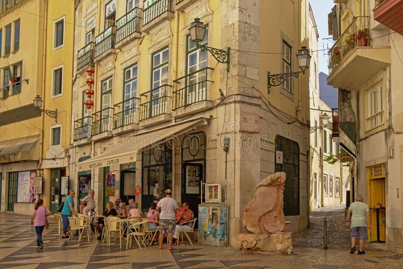 Terrace in the streets of Baixa Chiado neighborhood, Lisbon stock photo