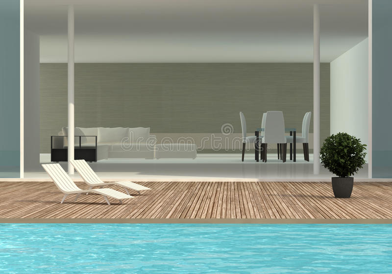 Terrace with the swimming pool royalty free illustration