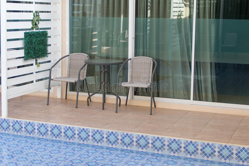 Terrace and Swimming pool. At home stock image