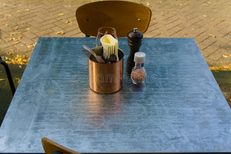 Terrace table setup for lunch royalty free stock photos