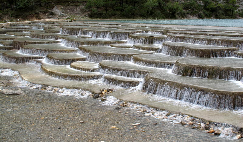 Terrace - Yunan White Water River Terraces Stock Photo