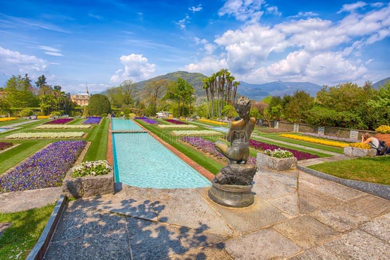 Terraced κήποι στο βοτανικό κήπο της βίλας Taranto σε Pallanza, Verbania, Ιταλία στοκ εικόνες με δικαίωμα ελεύθερης χρήσης