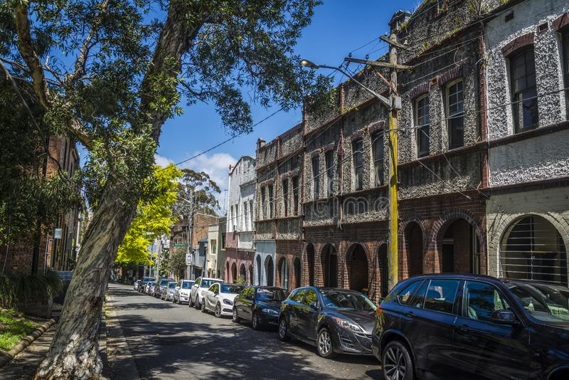 Terraced σπίτια, λόφοι Surry, Σίδνεϊ, Αυστραλία στοκ εικόνες με δικαίωμα ελεύθερης χρήσης