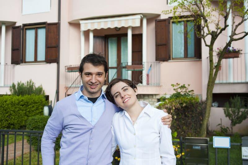 Terraced house couple stock photos