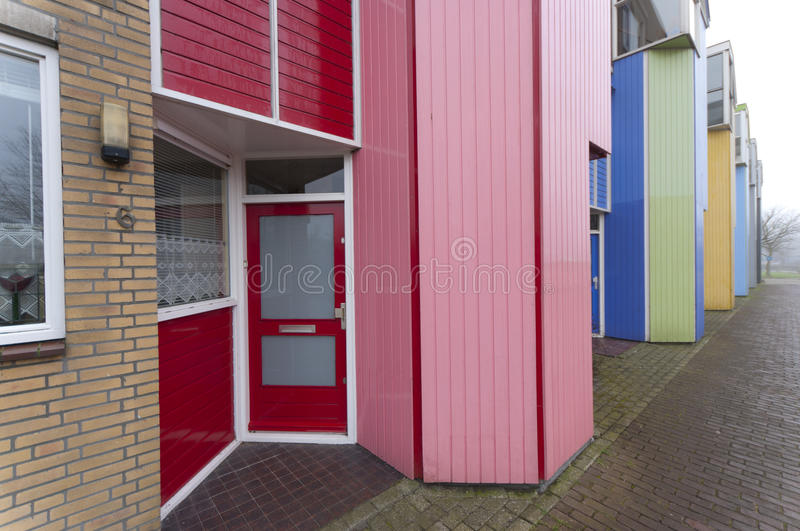 Terraced houses. Colorful terraced houses in Almere, the youngest city in the Netherlands stock photography