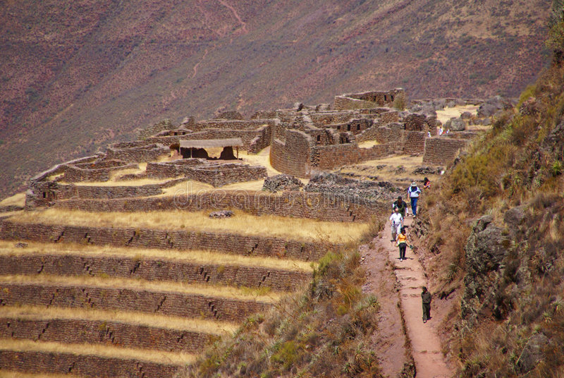 Download Terraced Inca Fields And Ruins Of Village Stock Image - Image: 8797035