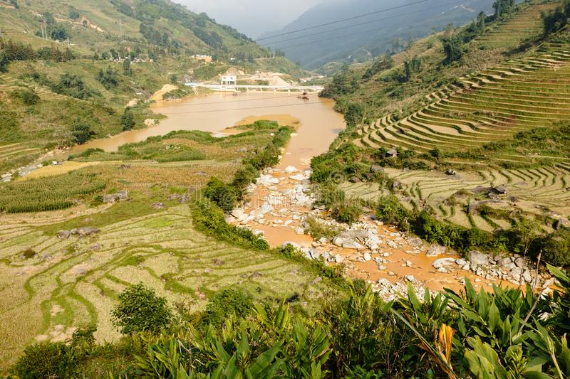 Terraced rice field landscape near Sapa in Vietnam stock photos