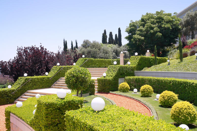 Terraces of the Bahai Gardens. Israel royalty free stock images