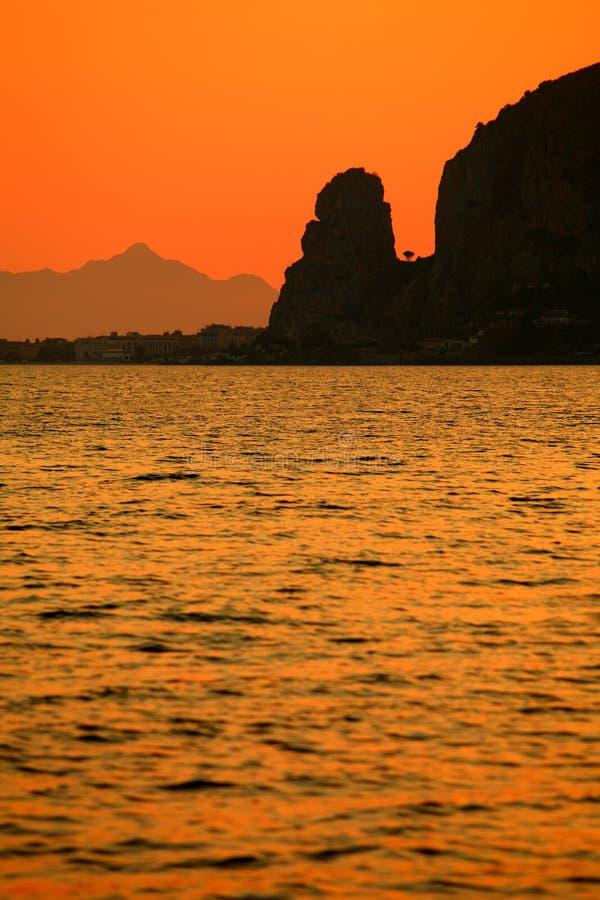 terracina захода солнца Италии lazio стоковое изображение