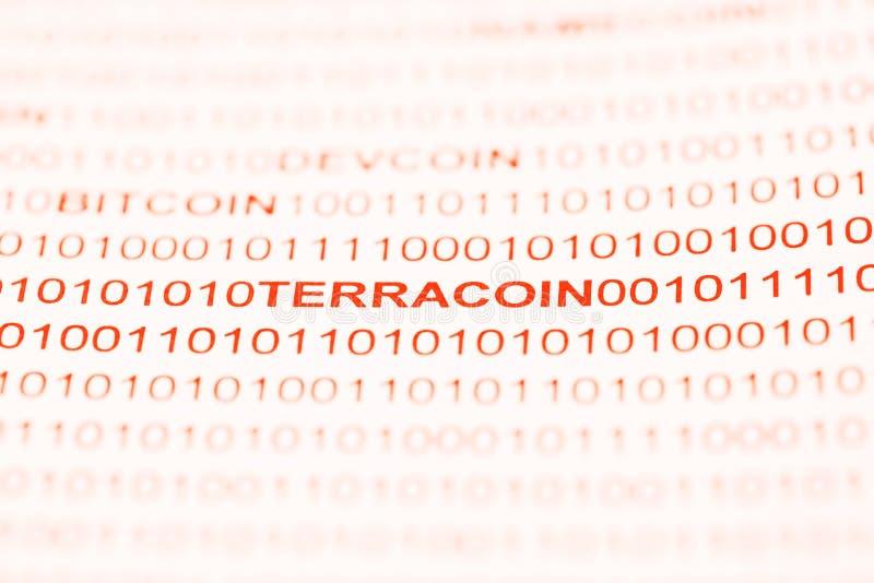 Terracoin文本用二进制编码 库存图片
