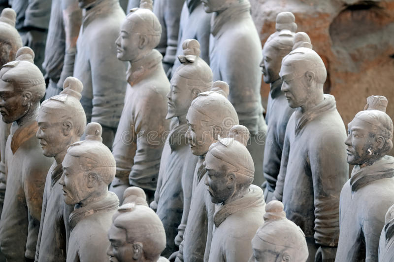 Terracota army. China. The terracota army stands near Xi'an in China. It was made in 250 BC by the Qin Shi Huandi emperor who is considered as the founder of royalty free stock image