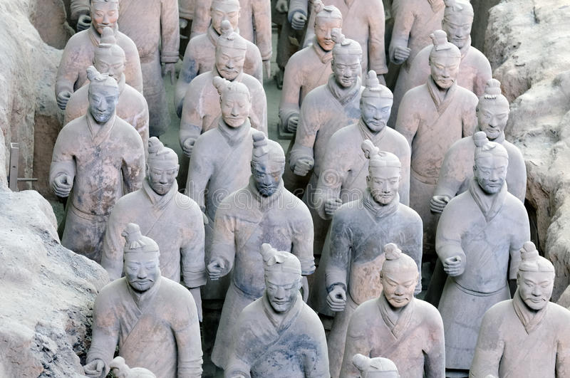 Terracota army. China. The terracota army stands near Xi'an in China. It was made in 250 BC by the Qin Shi Huandi emperor who is considered as the founder of stock photos