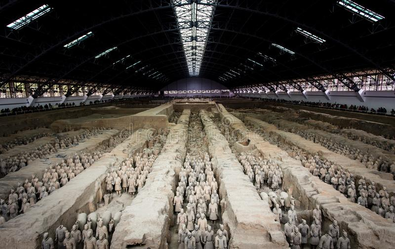 Terracota Army of the first emperor of China. Lintong, Xi`an, Shaanxi/China- October 15 2014: China`s famous Terracotta Warriors. The Terracotta Army is the stock photo