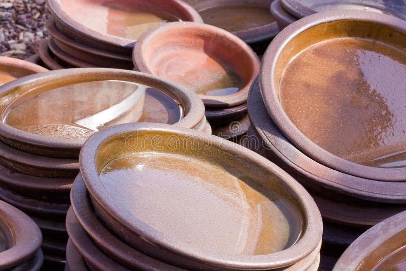 Terracota colored ceramics royalty free stock images