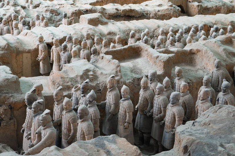 Terracotta Army. The Terracotta Army are the Terracotta Warriors and Horses of Shi Huang Di the First Emperor of China. The terra cotta figures, dating from 210 stock photos