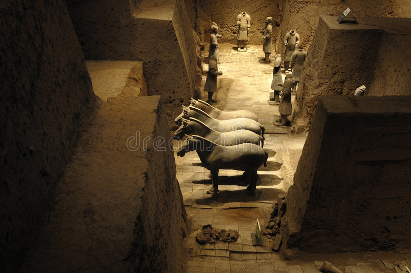 The Terracotta Army. Terra-cotta Warriors (Chinese: 兵马俑)and Horses is a collection of 8,099 life-size terra cotta figures of warriors and horses stock photography