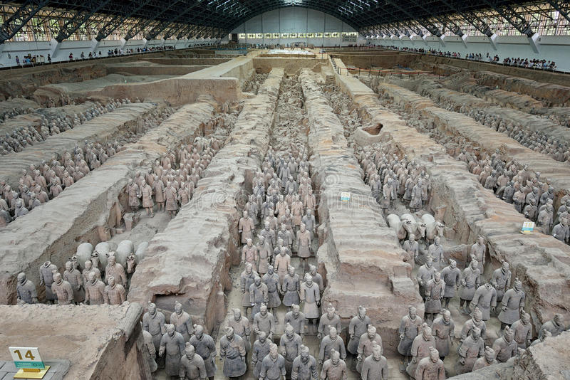Terracotta Army. The Terracotta Army is a collection of terracotta sculptures depicting the armies of Qin Shi Huang, the first Emperor of China. (from wiki stock photo