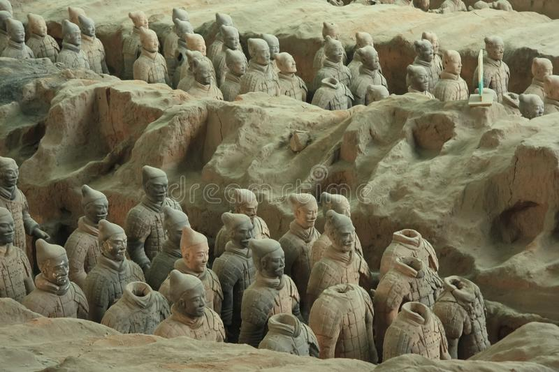 The terracotta army is a figure of ancient. Clay people. China, Xi`an: Archaeological excavations of the clay army of the emperor Qin Shi Huang. The terracotta stock photo