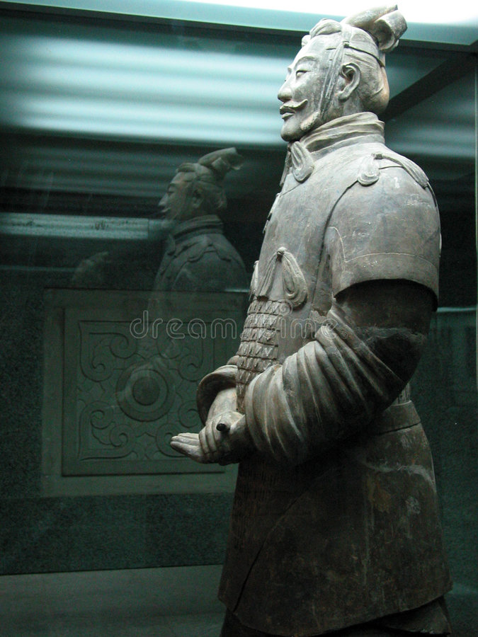 The Terracotta Army General. The Terracotta Army are the Terracotta Warriors and Horses of Qin Shi Huang the First Emperor of China. The terra cotta figures stock photos