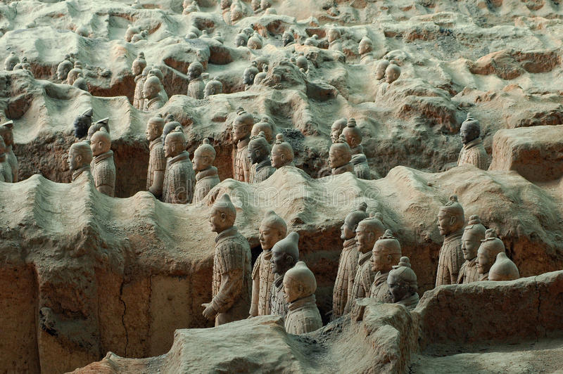 Terracotta Army near the city of Xian, China royalty free stock photo
