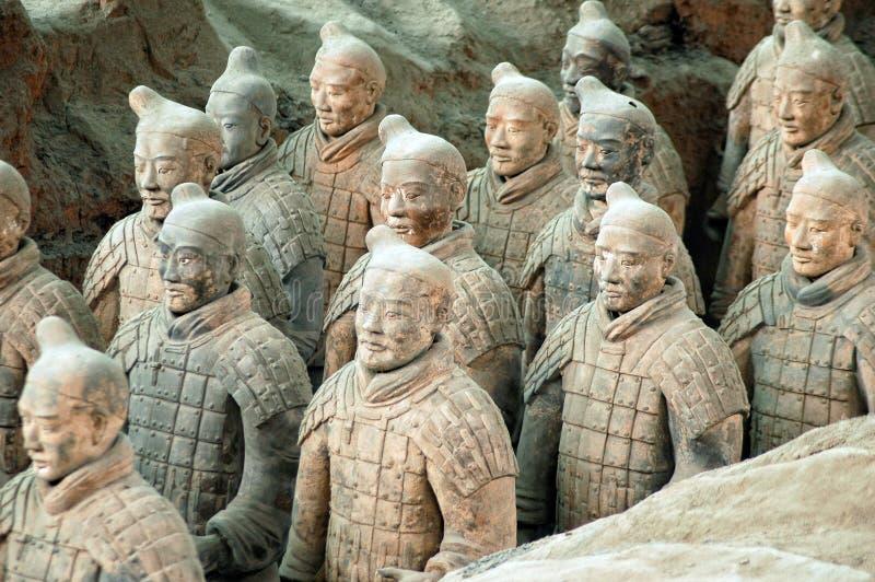 Terracotta Army near the city of Xian, China. The ancient Terracotta Army of Qin Shi Huang near the city of Xian in Shaaxi province in China royalty free stock photos
