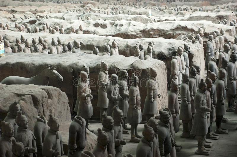 Terracotta Army Soldiers Horses, Xian China Travel. Tourists and people who travel to the Orient in China on holiday or vacation visit the ever popular