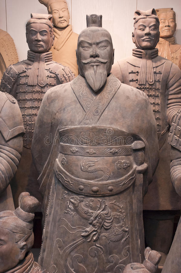 Terracotta Army Soldiers, Xian China, Closeup. Please note: This is a replica statue on display at the Chinese Terracotta Army Soldiers and museum outside of royalty free stock images