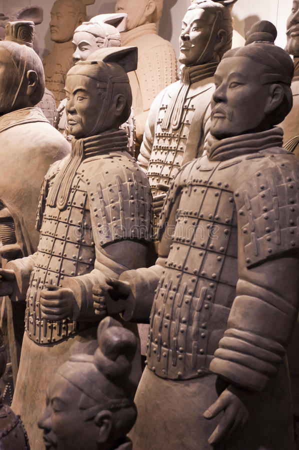 Terracotta Army Soldiers, Xian China, Travel. Please note: These are replica statues on display at the Chinese Terracotta Army Soldiers and museum outside of royalty free stock image