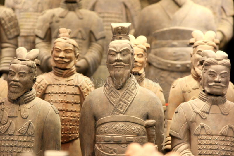 Terracotta Army. The Terracotta Army or the 'Terra Cotta Warriors and Horses' buried in the pits next to the Qin Shi Huang's tomb in 210-209 BC. Xian of Shaanxi stock photos