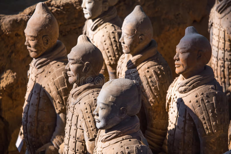 The Terracotta Army or the Terra Cotta Warriors and Horses. XIAN,CHINA -MAR 24 :The Terracotta Army or the Terra Cotta Warriors and Horses buried in the pits stock photography