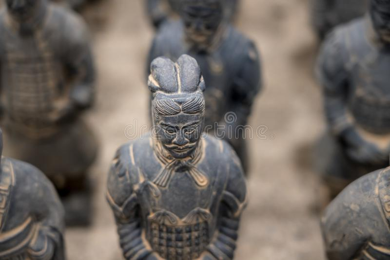 Terracotta Army warriors buried in Emperor tomb outside Xian China stock images
