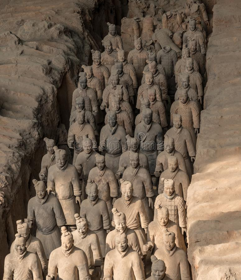 Terracotta Army warriors buried in Emperor tomb outside Xian China stock photos