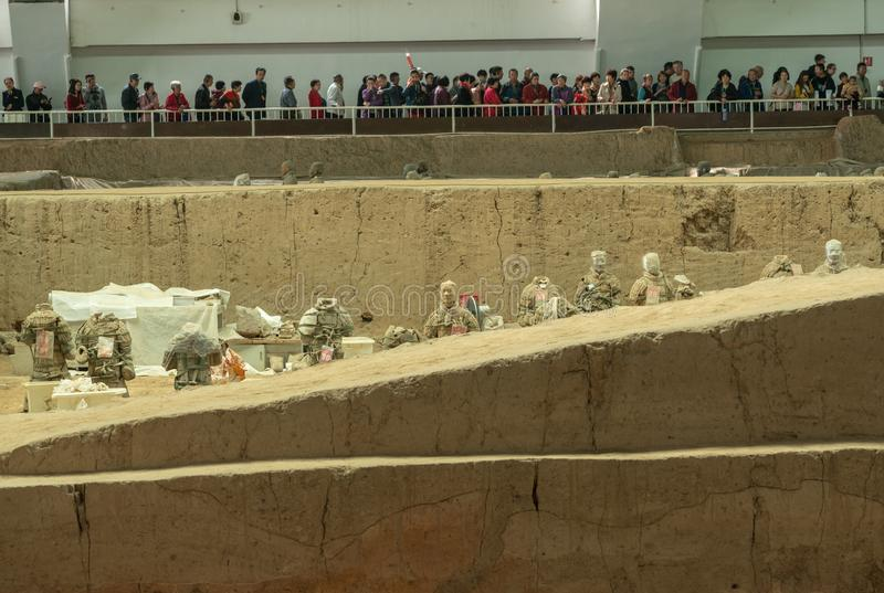 Terracotta Army warriors buried in Emperor tomb outside Xian China royalty free stock images