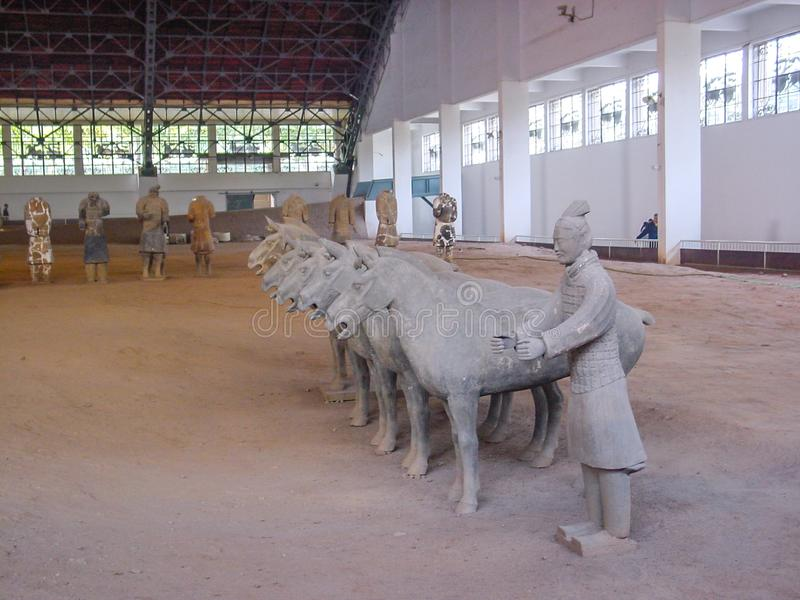 The Terracotta Army warriors at the tomb of China's First Emperor in Xian. Unesco World Heritage site. stock photography