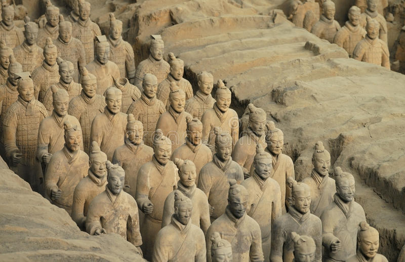 Terracotta Army - Xian - China. The Terracotta Army is a collection of terracotta sculptures depicting the armies of Qin Shi Huang, the first Emperor of China royalty free stock images