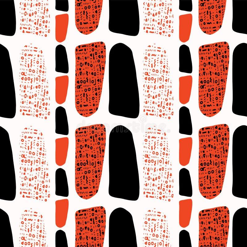 Terracotta en Zwarte Samenvatting Getrokken Symbolenstijl royalty-vrije illustratie