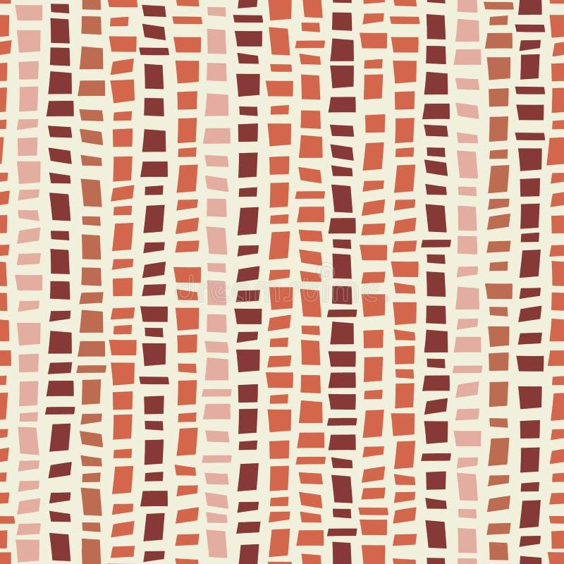 Terracotta gekleurd de stijl verticaal gestreept ontwerp van het mozaïekterrazzo Naadloos vectorpatroon op roomachtergrond groot stock illustratie