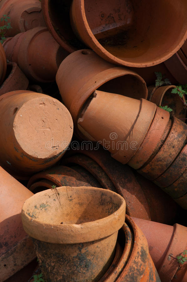 Terracotta pots. Clay vases. stock image