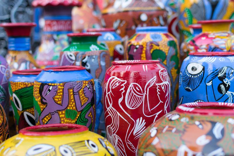 Terracotta pots, Indian handicrafts fair at Kolkata. Bright colorful terracotta pots, works of handicraft, on display during Handicraft Fair in Kolkata - the stock images