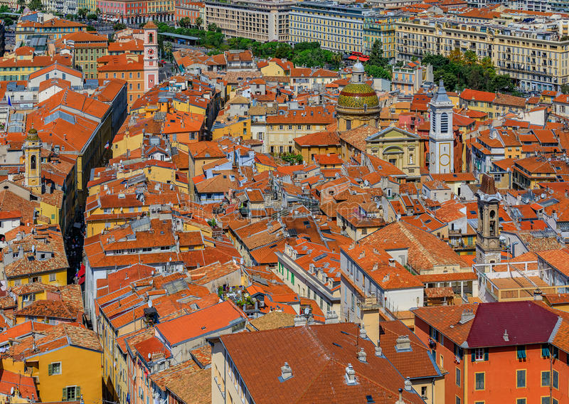 Terracotta rooftops of the Old Town, Vieille Ville in Nice on th. View of colorful terracotta rooftops of the Old Town, Vieille Ville in Nice on the royalty free stock photography