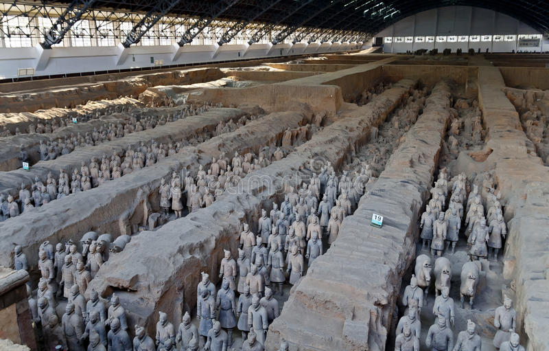 Terracotta Warrior Army of Emperor Qin Shi Huang Di stock photos