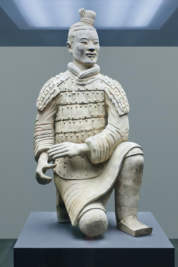 Terracotta warrior displayed in a museum, Xian, China royalty free stock images