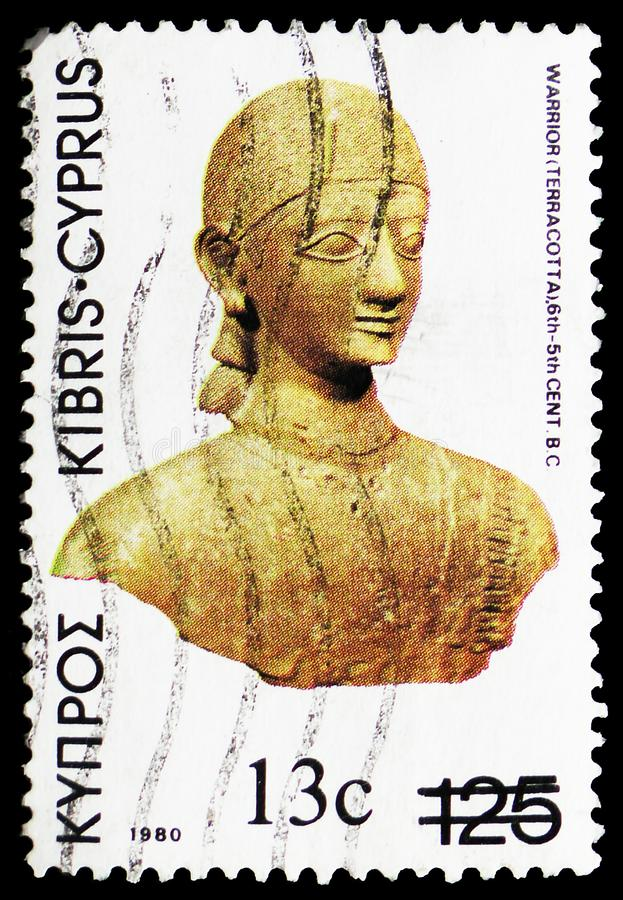 Terracotta Warrior, 6th-5th cent. B.C., Definitive Issues 1980-Archaeological Treasures serie, circa 1980 royalty free stock photos