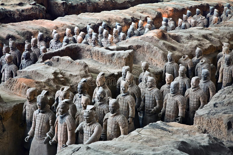 Terracotta Warriors. In formation displayed in a burial pit at the Terracotta Army Museum in Xian China stock photo