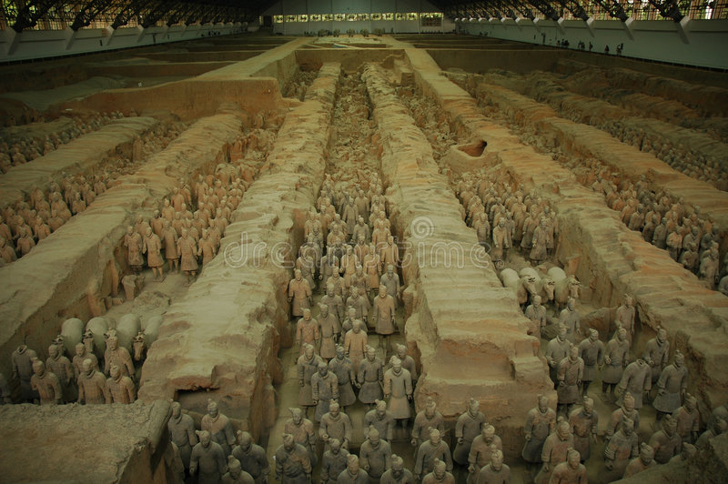 Terracotta Warriors. Overview of pit 1, Terracotta Warriors, Xian, China royalty free stock images