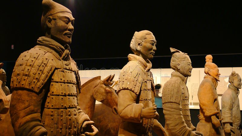 Terracotta Warriors. The Terracotta Warriors is a fantastic tourist attraction in Xi'an,China. It is located in front of the Emperor Qinshihuang's tomb to defend stock photos