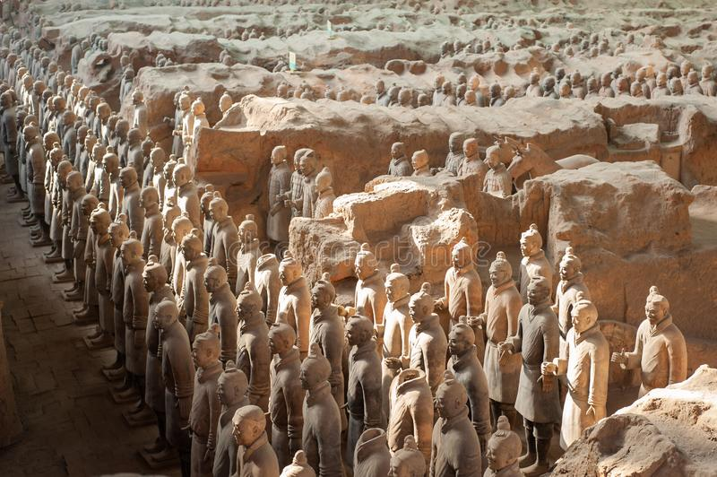 Terracotta warriors in Xi`An, China royalty free stock image